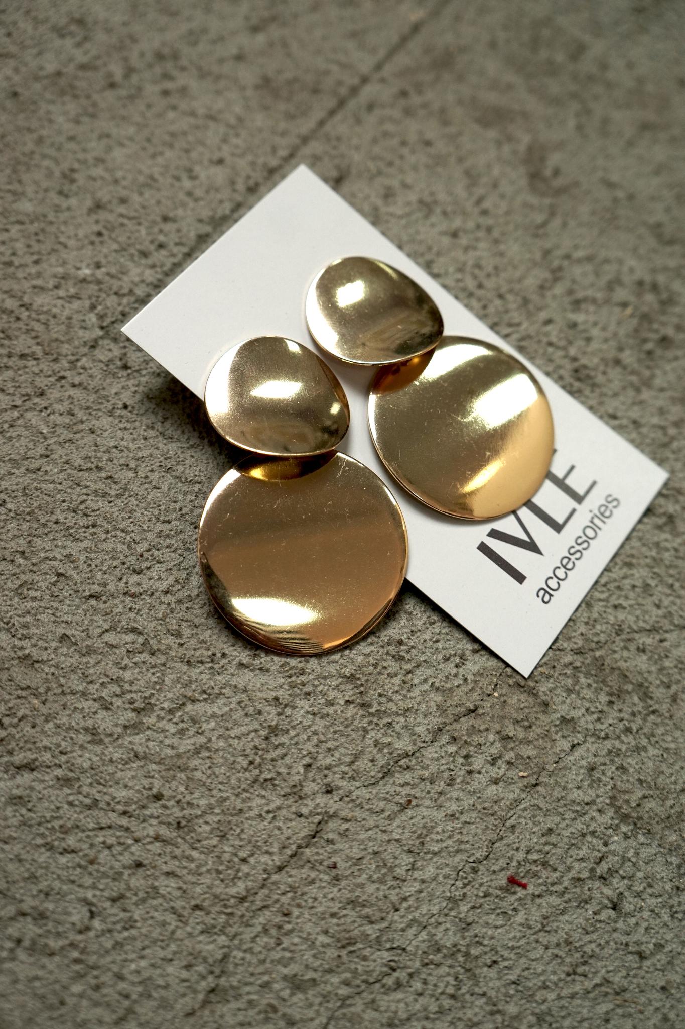 Серьги золотые круги два яруса на гвоздике 5,5 см