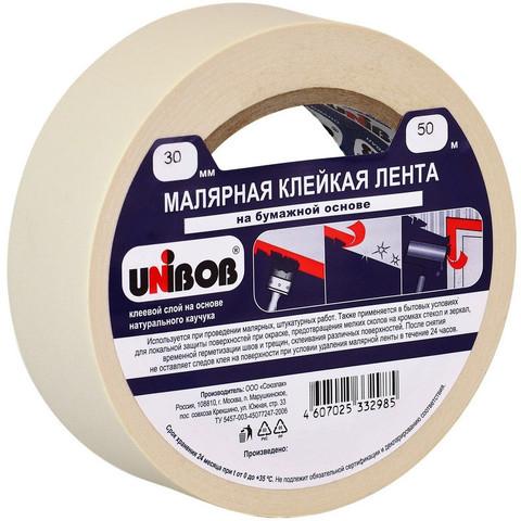 Клейкая лента малярная Unibob 30мм х 50м