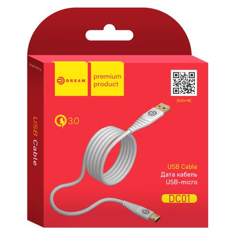 Кабель USB - microUSB 1м QC3.0 Dream (белый)