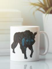 Кружка с изображением Волк (Wolf) белая 004