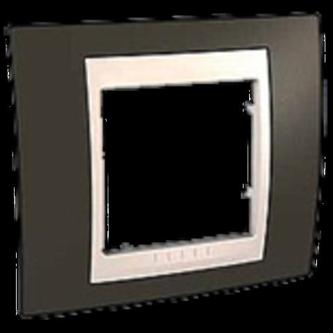 Рамка на 1 пост. Цвет Какао/Белый. Schneider electric Unica Хамелеон. MGU6.002.871