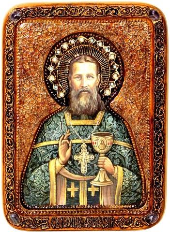 Инкрустированная живописная икона Святой праведный Иоанн Кронштадтский 29х21см на сакральном кипарисе в подарочной коробке