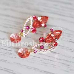 Позолоченные серьги с красными кристаллами Сваровски