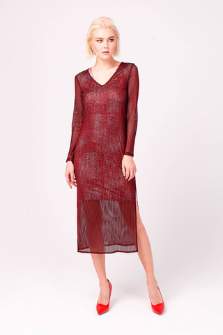 Фото платье миди с нижним топом прямого силуэта с глиттерным напылением - Платье З340-269 (1)