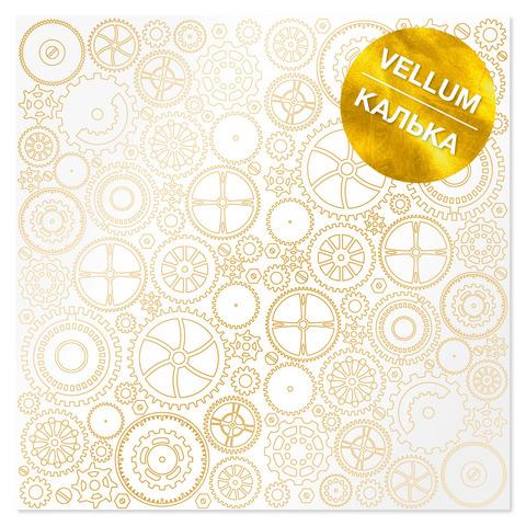 Лист кальки (веллум) с фольгированием Golden Gears 30,5х30,5 см