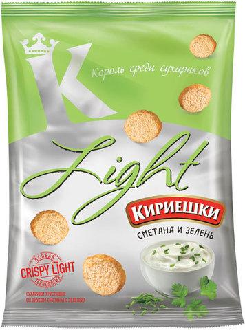 """Сухарики """"Кириешки"""" Light Сметана и зелень 80 г"""