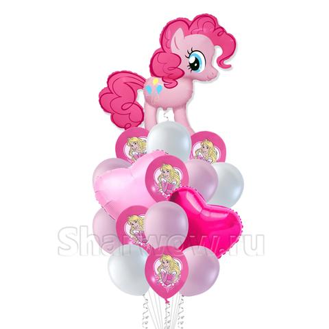 Букет воздушных шаров с гелием на день рождения девочки с Пинки Пай с сердечками