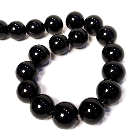 Бусины агат черный (имитация) шар гладкий 14 мм 1 бусина