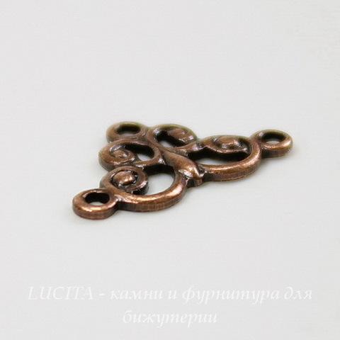 Винтажный декоративный элемент - коннектор (1-2) 12х7 мм (оксид меди) ()