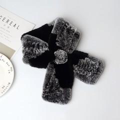 Вязаный меховой шарф-воротник (кролик) черно-серый