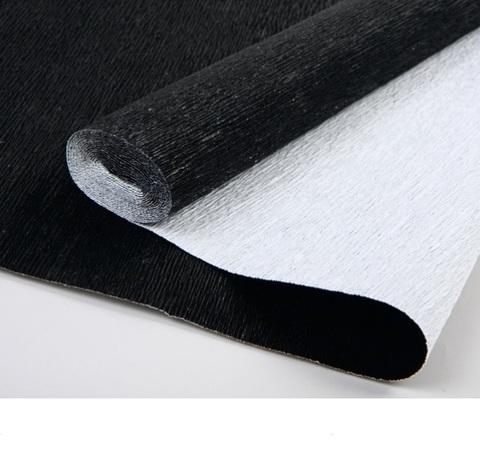 Бумага гофрированная металл, цвет 809 черный, 180г, 50х250 см, Cartotecnica Rossi (Италия)