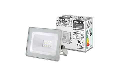 Прожектор светодиодный СДО-04-010Н 10 Вт, 6500 К, IP65, белый, Народный