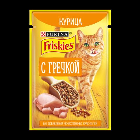 Friskies Консервы для взрослых кошек с курицей и гречкой в подливе (Пауч)