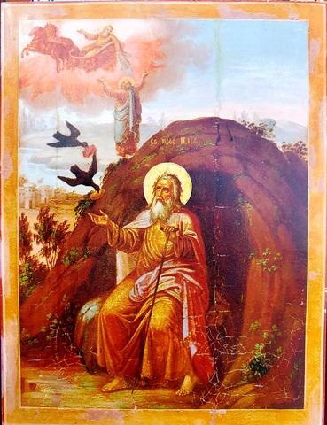Икона святой Пророк Илья в пустыне на дереве на левкасе мастерская Иконный Дом