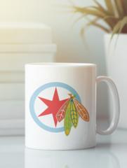 Кружка с рисунком НХЛ Чикаго Блэкхокс (NHL Chicago Blackhawks) белая 006