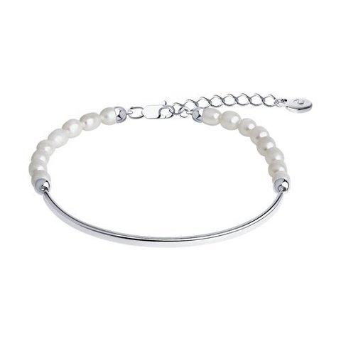 92050146 - Браслет полужесткий из серебра с речным, натуральным жемчугом