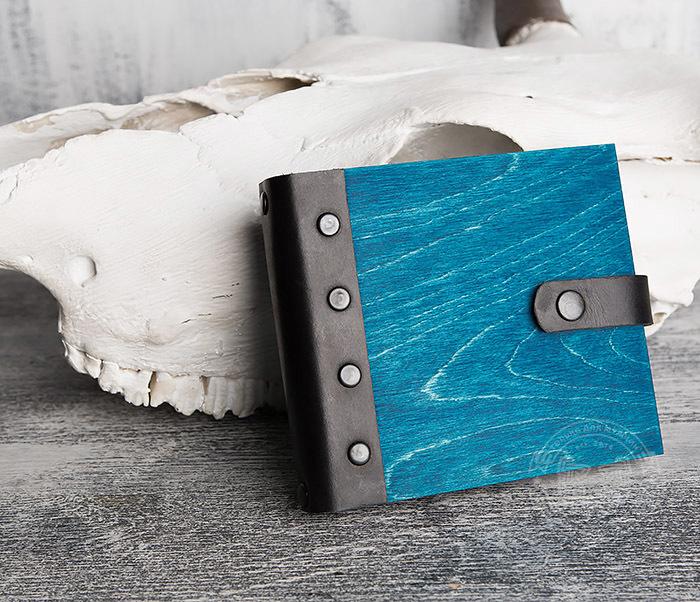 BC127-3 Деревянный блокнот синего цвета на кольцах, ручная работа