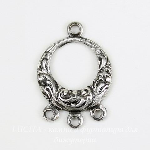Винтажный декоративный элемент - коннектор (1-3) 17х12 мм (оксид серебра) ()