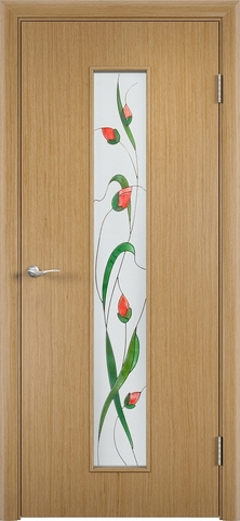 Дверь Верда С-21, стекло Сатинато (Изумруд), цвет дуб, остекленная