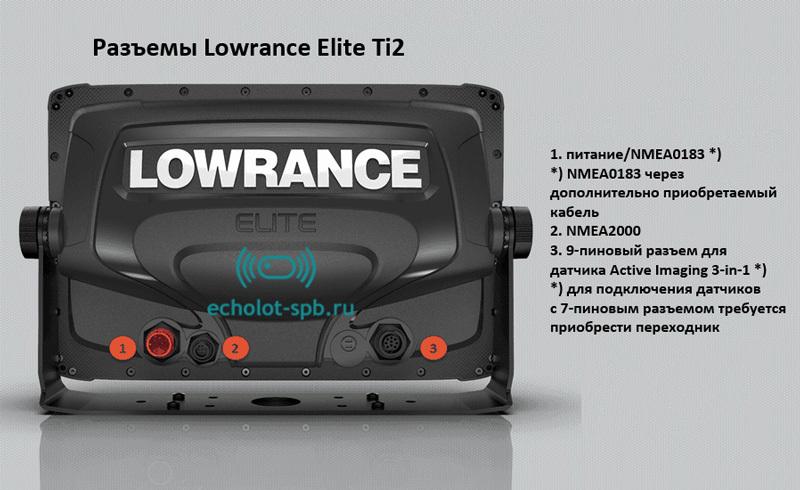 Картплоттер Lowrance Elite-12 Ti2 с датчиком Active Imaging 3-in-1 разъемы