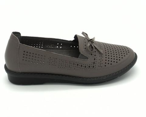 Серые кожаные летние туфли без каблука
