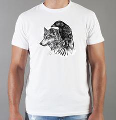 Футболка с принтом Волк (Wolf) белая 0012