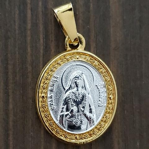 Нательная именная икона святая Злата с позолотой кулон с молитвой