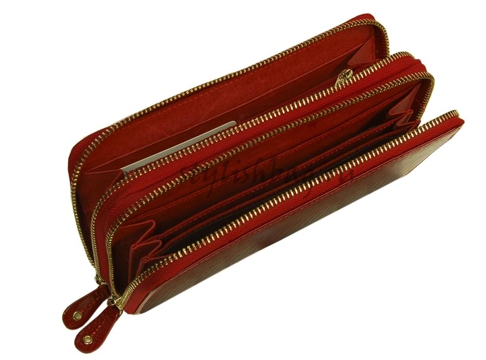 Красный женский кошелек на двух молниях Moro Jenny 59049