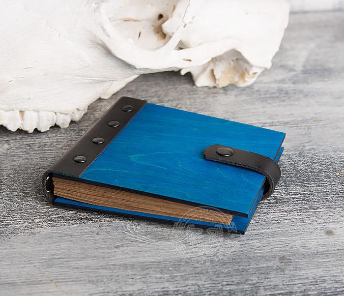 BC127-3 Деревянный блокнот синего цвета на кольцах, ручная работа фото 03