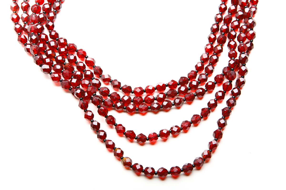 Castlecliff faux garnet necklace and clips
