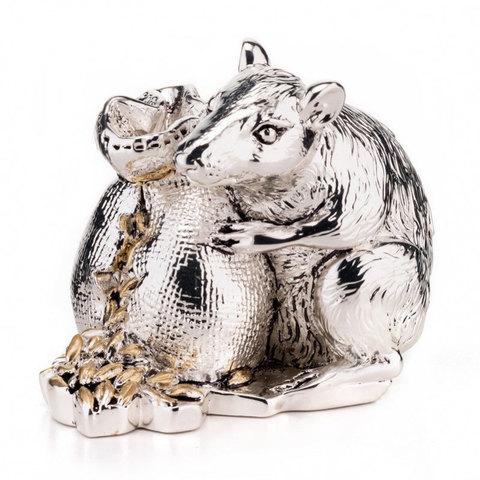 Символ 2020 года – Серебряная фигурка Мышь с мешком зерна