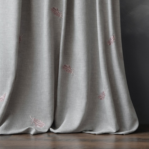 Комплект штор с вышивкой Плаза серый