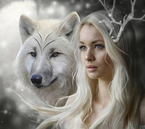Алмазная Мозаика 40x50 Девушка и волк (арт. GA74723)
