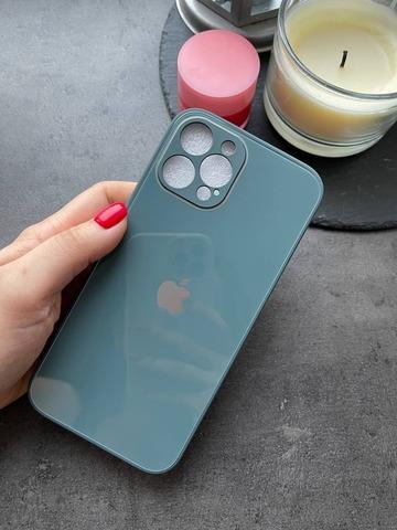 Чехол iPhone 12 Pro Max /6,7''/ Glass Pastel Full Camera /pine green/