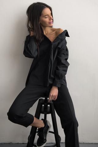 Рубашка базовая объемная,черный