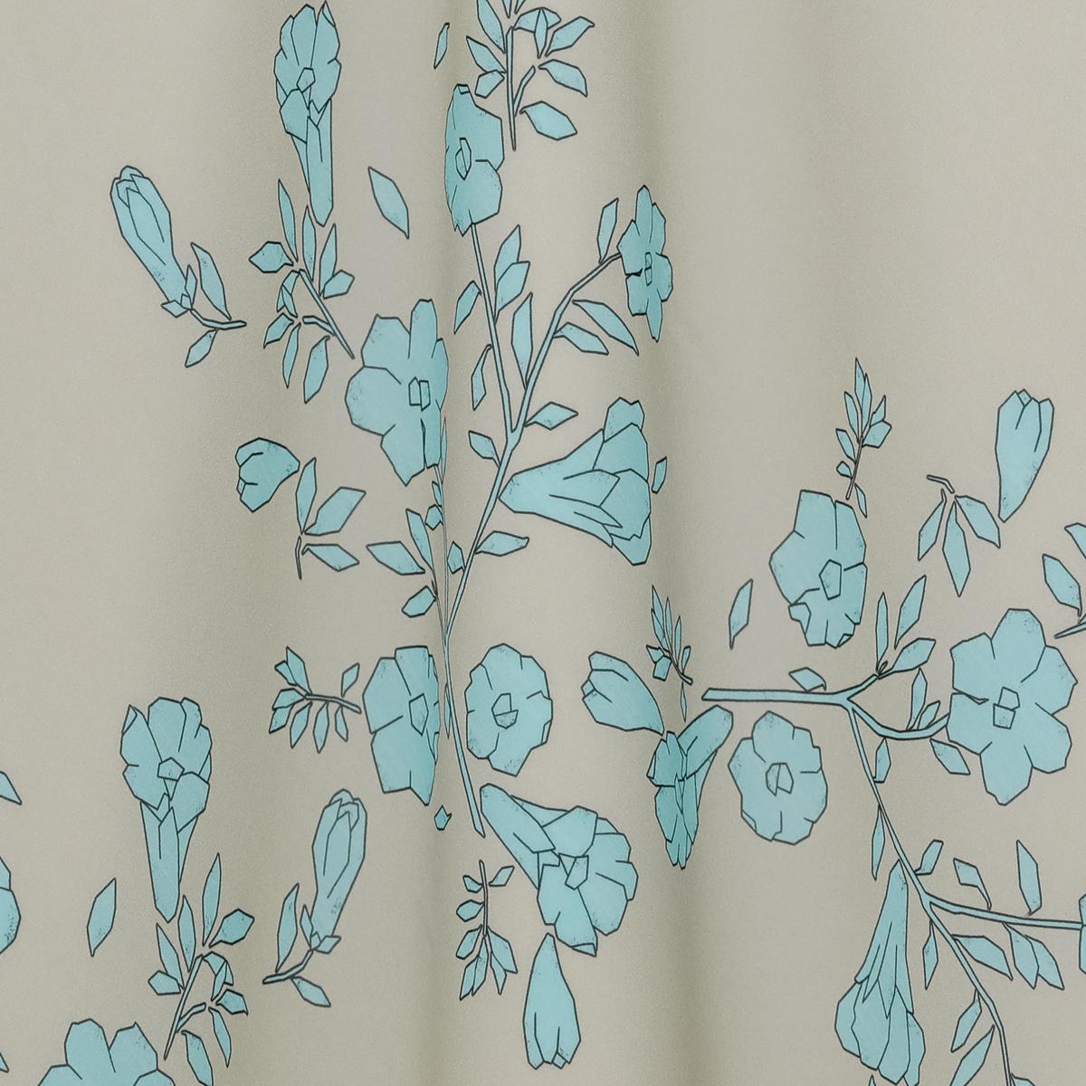 Полупрозрачный шёлковый жоржет с бирюзовыми цветами на бежевом