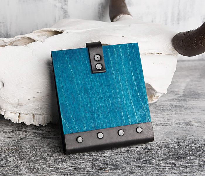 BC127-3 Деревянный блокнот синего цвета на кольцах, ручная работа фото 04