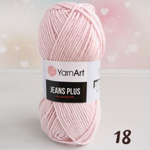 YARNART JEANS PLUS 18, Нежный розовый