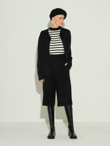 Женский свитер без рукавов в черно-молочную полоску из шелка и кашемира - фото 3