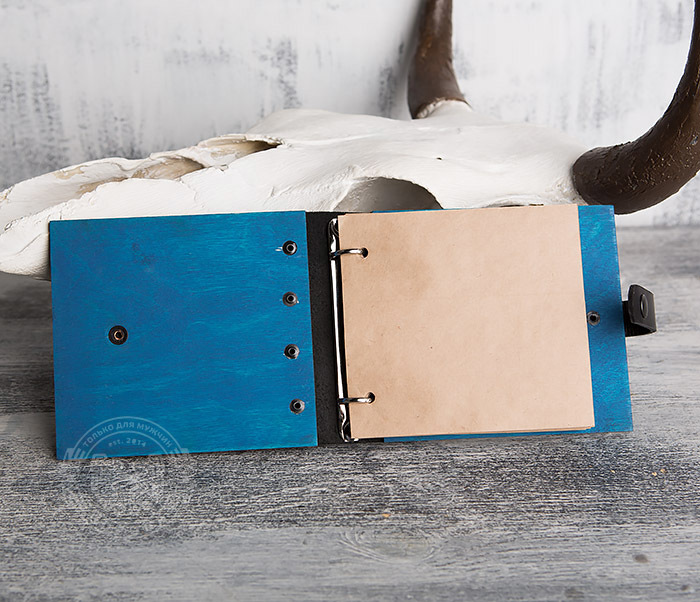 BC127-3 Деревянный блокнот синего цвета на кольцах, ручная работа фото 05