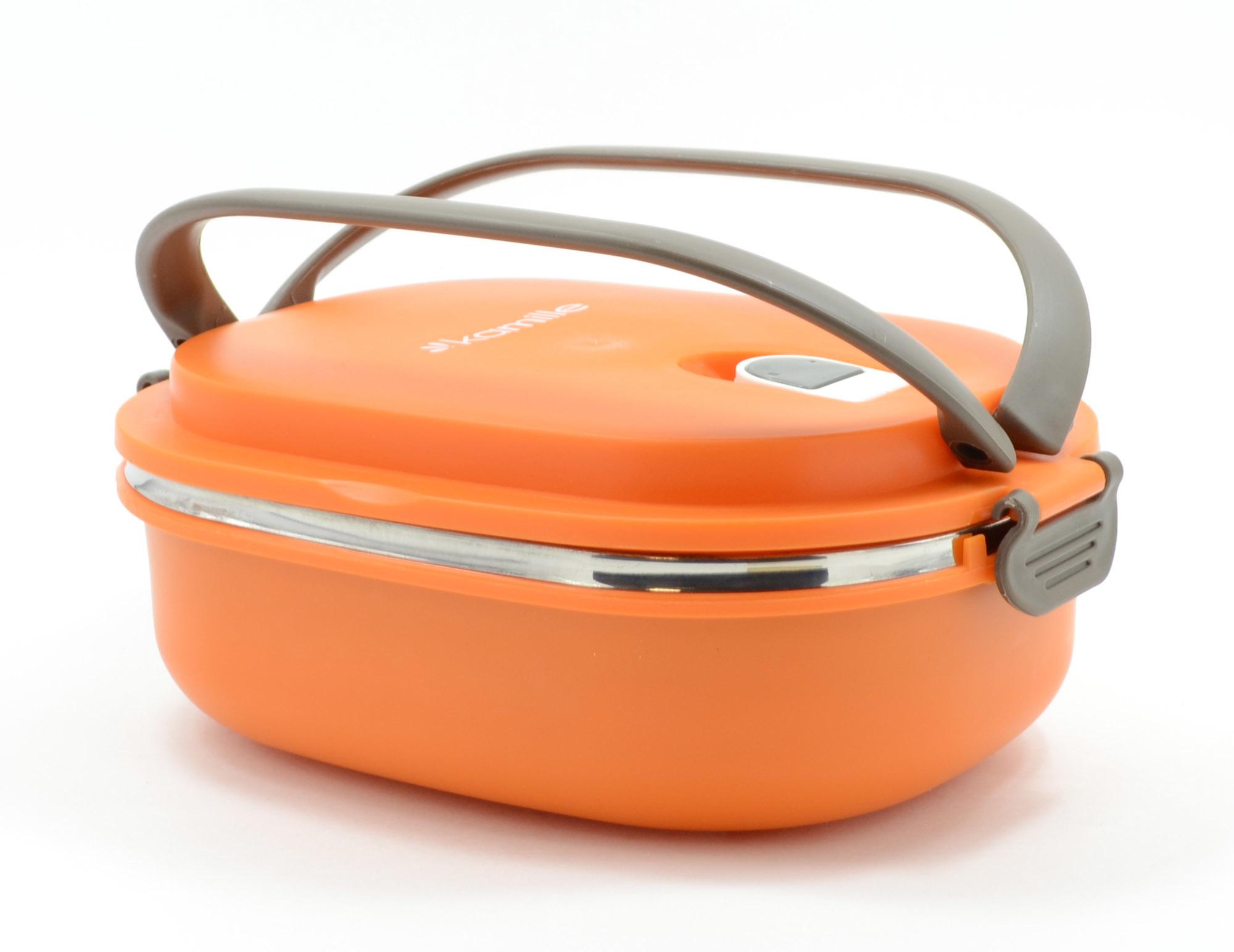Ланч бокс Kamille с защелками овальный 1 секция 900 мл. оранжевый