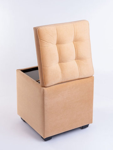 Пф-400-Я Пуфик квадратный (персиковый) с ящиком для хранения