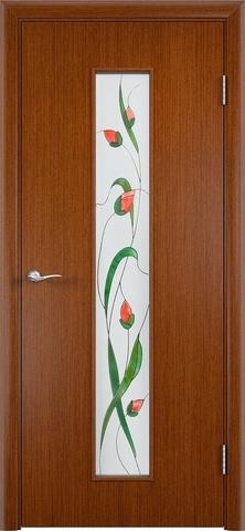 Дверь Верда С-21, стекло Сатинато (Изумруд), цвет макоре, остекленная