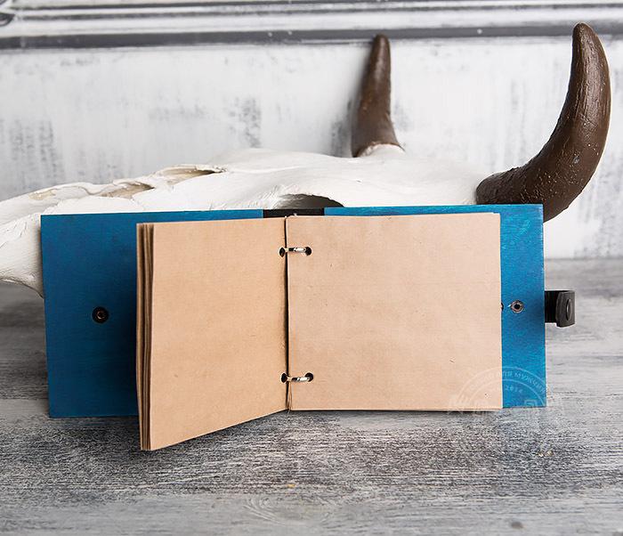 BC127-3 Деревянный блокнот синего цвета на кольцах, ручная работа фото 06