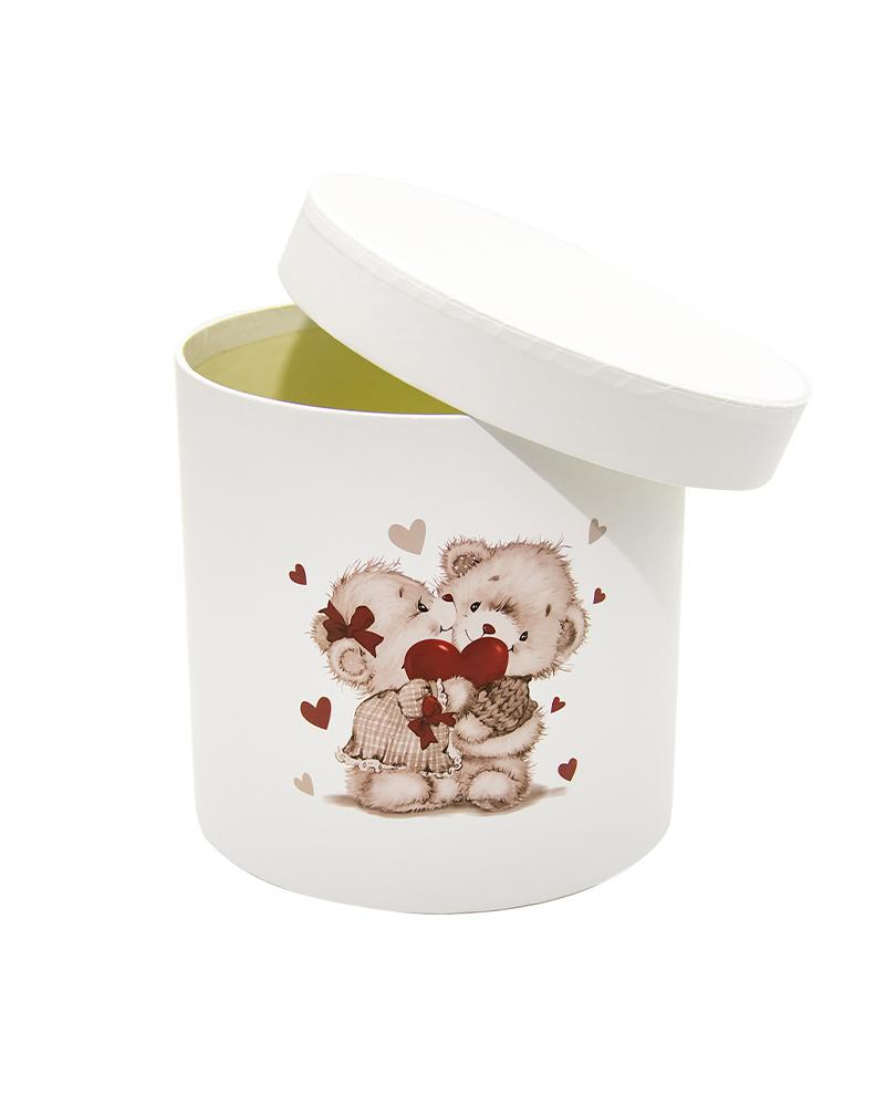 Коробка Цилиндр Белая (Мини Мишки)