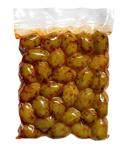 Оливки зеленые Халкидики с паприкой Attica Food 500 гр