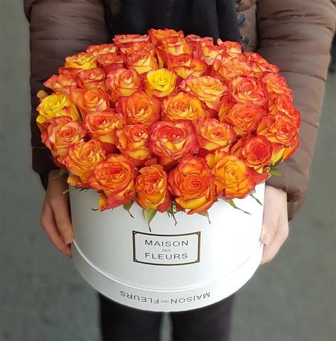 Коробка с оранжевой розой 2