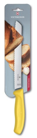 Нож для хлеба жёлтый SwissClassic 21 см с волнистой кромкой VICTORINOX 6.8636.21L8B