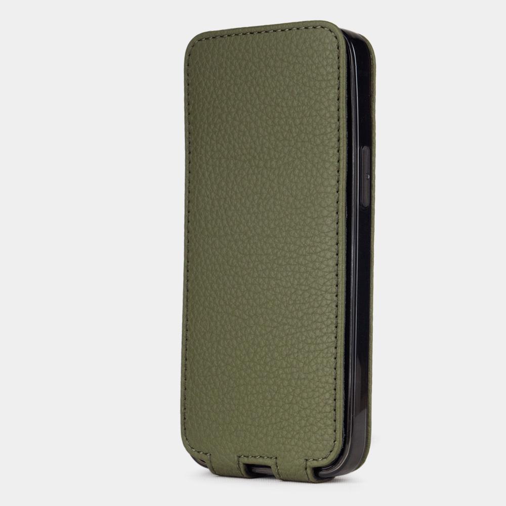 Чехол для iPhone 12 Mini из натуральной кожи теленка, зеленого цвета