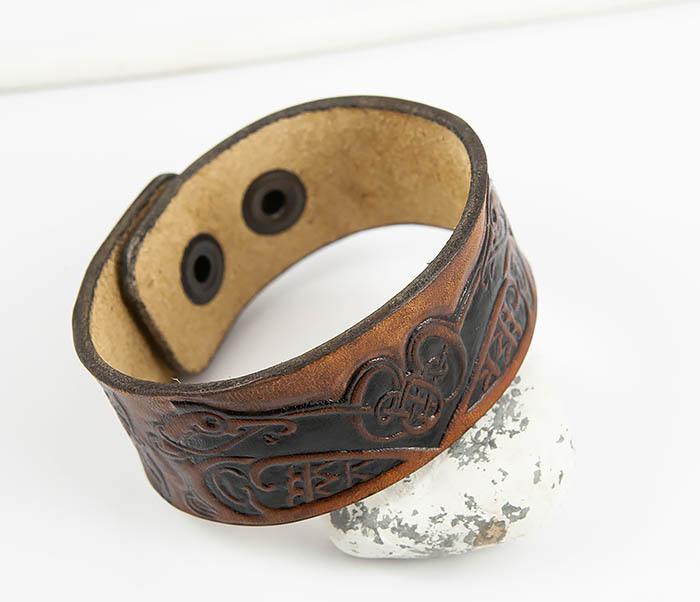 BL479 Мужской кельтский браслет «Птицы» ручной работы фото 04